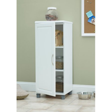 16'' Stackable Storage Cabinet, White, Raised Panel Door Front adds Style to This Functional Item, Concealed 6-way Euro Hinges on the Door Create a Finished Look by GAShop