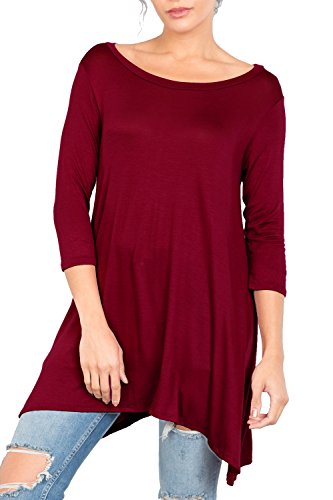Love In T2411 3/4 Sleeve Round Neck Relaxed A-Line Tunic T Shirt Top Burgundy S by Love In (Image #2)