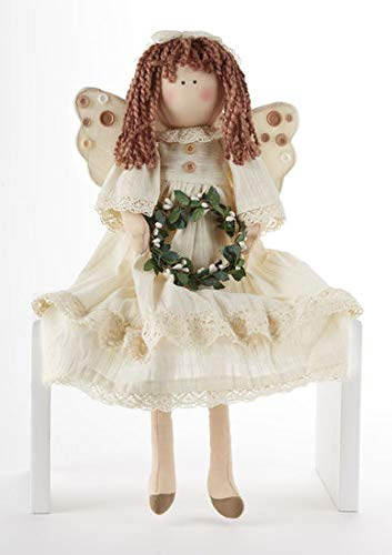 Delton Products 21 Inches Sitting Cream Angel with Wreath Collectible Doll 4154-1