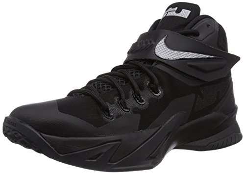 Nike Mens Zoom Soldier VIII Basketball Shoes Black/Metallic Silver  653641-001 Size 8.5