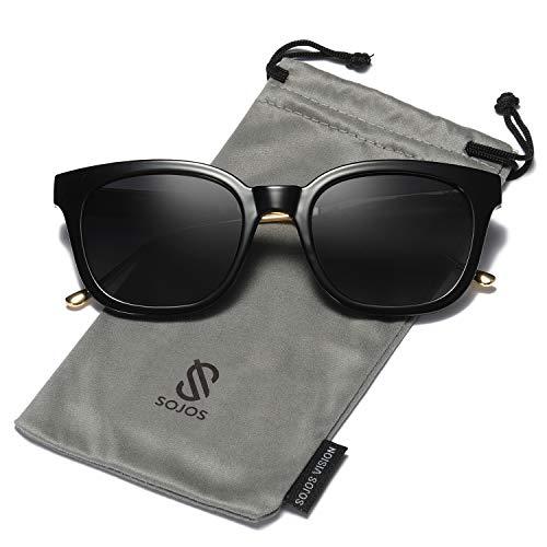 SOJOS Classic Polarized Sunglasses for Women Men Mirrored Lens SJ2050 with Black Frame/Grey Polarized ()