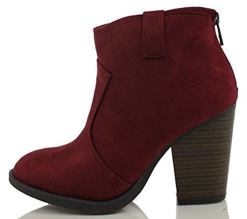 (SODA Women's Albert Faux Suede Cowboy Pull-Tab Stacked Heels Ankle Booties, Black, 6.5 M US (Wine, 7.5 M))