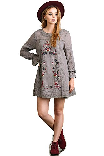 Umgee Long Sleeve A Line Dress with Floral Embroidery (Small, Mocha)