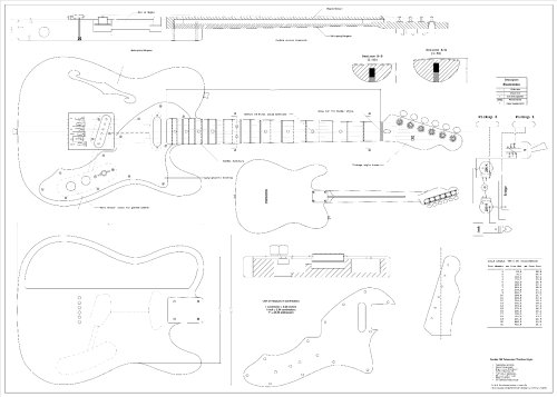 Full Scale Plans for the Fender Telecaster 1969 Thinline Electric Guitar by spirit flutes