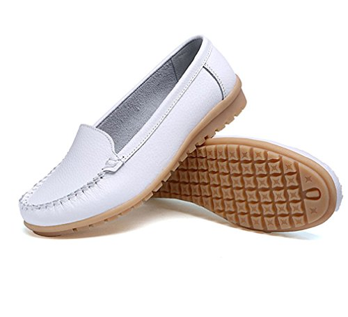 in pelle Mocassini Casual Fashion donna Mocassini Scarpe Bianco Scarpe vera Donna Mocassini On Slip da 4AqqU
