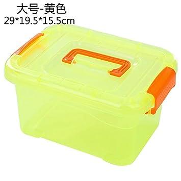 CWAIXX Ropa de rey transparente tamaño bin caja almacenaje almacenamiento caja juguete cubierto plástico almacenamiento portátil caja 28 * 19 * 15,5 cm, ...