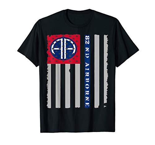82nd Airborne Veteran Paratrooper American Flag T-shirt, ()