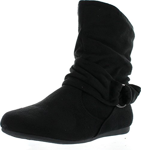Forever Selena-58 Women's Fashion Mid Calf Flat Heel Side Zipper Slouch Boots,Black,6.5