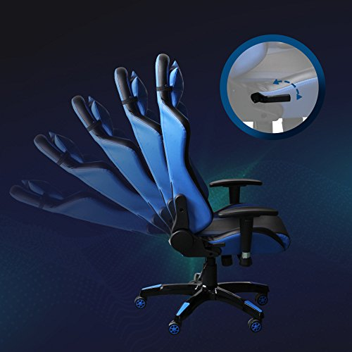 41cCf1fX4ML - Video-Gaming-Chair-Executive-Swivel-Racing-Style-High-Back-Office-Chair-Lumbar-Support-Ergonomic-With-Headrest-Blue