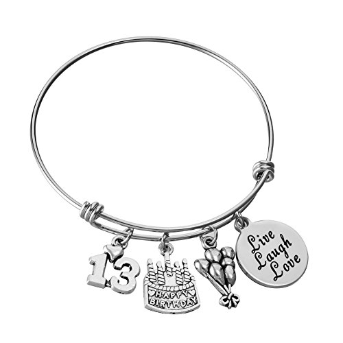 Miss Pink Stainless Steel Expandable Wire Bangle 13th Birthday Gifts Bracelet Live Laugh Love Jewelry for 13 Year Old -