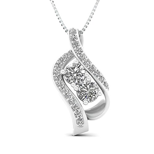 1.00cttw Diamond two stone pendant in 10k White Gold (H-I, I2-I3, 1.00ctw, 18 Inches)