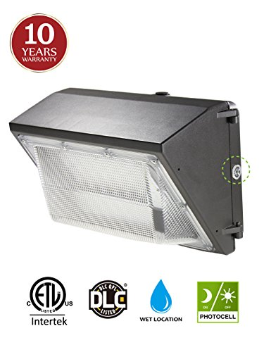LED Wall Pack with Dusk-to-dawn Photocell, 60W Waterproof Outdoor Commercial Lighting Fixture, 125W-400W HPS/HID Replacement, 5000K 6600lm 100-277Vac 10-year Warranty