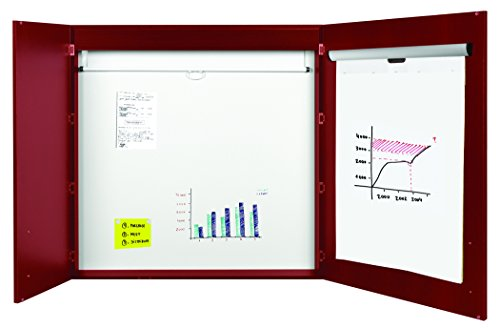 - MasterVision 3-in-1 Conference Cabinet with Dry Erase Surface, Projection Screen & Easel Pad Holder, 4' x 4', Cherry (CAB01010130)