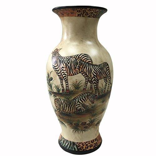 PMJC Hand Painted Zebra Oil Painting Porcelain Vase, 4