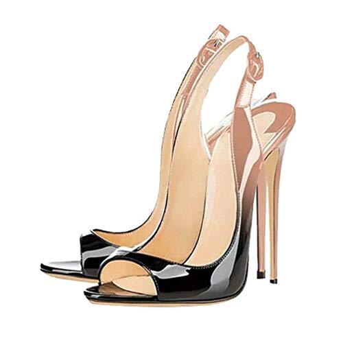 Zandina Handmade Ladies Peep-Toe Allenissima 120mm High Heel Party Sandals Fashion Dress Evening Sandals BlackBeige US13