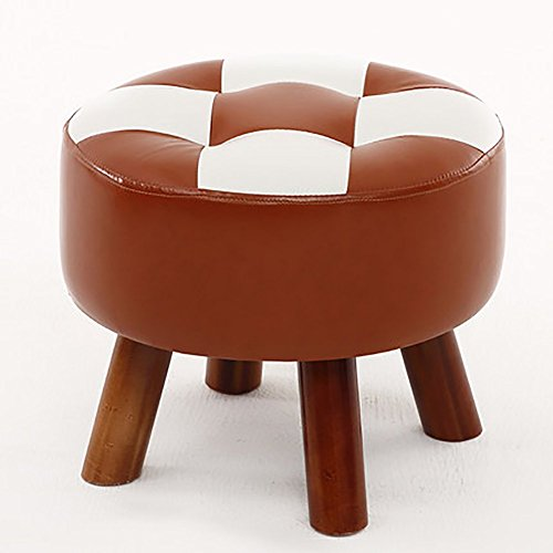 D&L Upholstered Round Footstool Ottoman Creative Sofa Stool 4 Legs Solid Wood Shoe Stool Faux Leather-C W40xH32cm by D&L