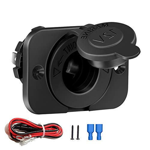 (FENGWANGLI Cigarette Lighter Socket Car Marine Motorcycle ATV RV Lighter Socket Power Outlet Socket Receptacle 12V DC Flush Mount with Wire Waterproof Plug)