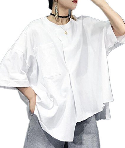 Hi Low Hem Top - YESNO Y45 Women Tee T-Shirts Hi-Low Hem Tops 100% Cotton Casual Loose Fit Asymmetric Hemline Pocket