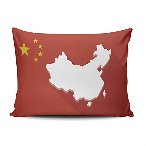 SALLEING Custom Fashion Home Decor Pillowcase China Long Shadow Flag with a Map Boudoir Throw Pillow Cover Cushion Case 12x16 Inches One Sided Print
