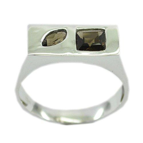 Gemsonclick Smoky Quartz Ring Silver Marquise,Square Cut Bezel-setting Handicraft Size 5,6,7,8,9,10,11 ()