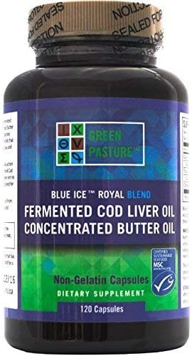 Amazon.com: Green Pasture Blue Ice Royal Butter Oil / Fermented Cod Liver Oil Blend - 120 Capsules: Health & Personal Care
