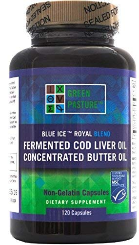 Green Pasture Blue Ice Royal Butter Oil / Fermented Cod Liver Oil Blend - 120 Capsules (X Factor Gold High Vitamin Butter Oil)