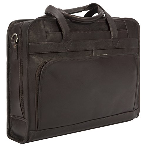 Double Compartment Zippered Top Briefcase - Muiska Leather 17