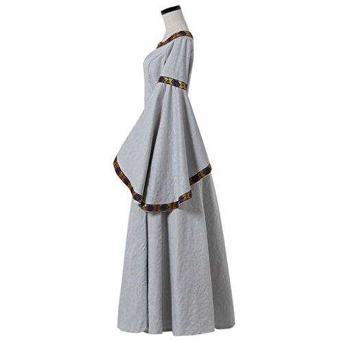 Kleid Viktorianischen Mittelalterlichen Trompete Kostüm Renaissance Grau Gothic Ärmel Grau Cosplayitem Maskerade Damen SwxIEE