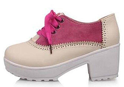 Easemax Dames Comfortabele Mid Dikke Hakken Platform Lace Up Sneakers Schoenen Rose Rood
