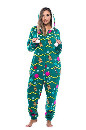 Just Love 6342-10219-M Adult Onesie/Pajamas, Medium, Christmas Tree -