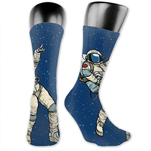 SARA NELL Men & Women Classics Crew Socks Disco Party Astronauts Dancing Thick Warm Cotton Crew Winter Socks Personalized Gift -