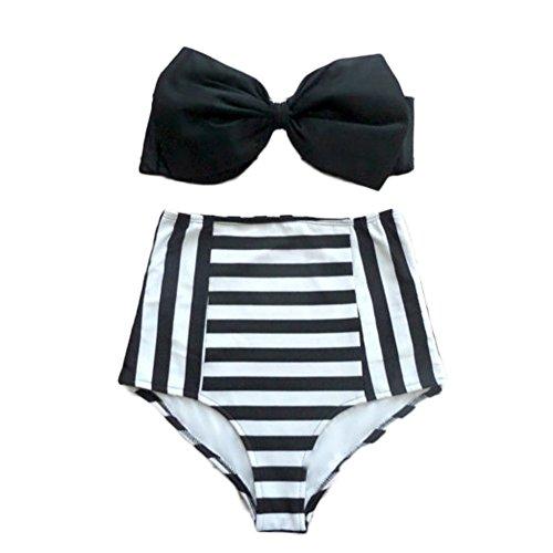 DELEY Mujeres Elegante Bowknot Cintura Alta Leopard Bikini Rayas Trajes De Baño Ropa De Playa Color 3