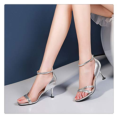 - TNGWA& Women Sandals High Heels 2019 Shoes Woman Sandals Leather Silver 7cm Silver 4