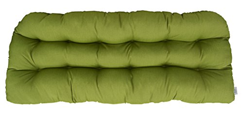 (RSH Décor Sunbrella Spectrum Cilantro LARGE (24in x 44in) Love Seat Cushion - Indoor/Outdoor 1 Tufted Wicker Loveseat Settee Cushion - Lime/sage/Olive)