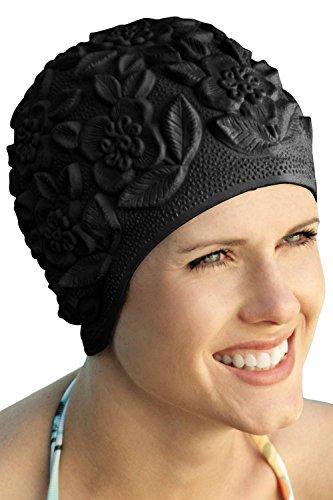 Retro Swim Caps - Sync Swimwear Retro Bathing Caps for Women: Floral Molded Swim Cap Black