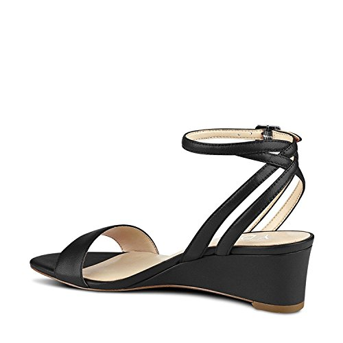 Shoes Women Ankle Heel YDN Wedge Sandals Black Straps Slingback Open Summer Toe Low SwFwxdn4Pq