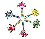 Ranvi Vivid Color Smile Rainbow Handle Wooden Bells Jingle Stick Shaker Rattle Baby Kids Children Musical Toys, 4 PCS, Random Color.