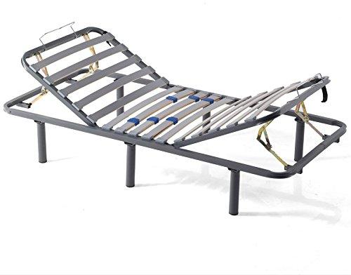 Mivis - Somier de acero articulado manual multilaminas de abedul, tamaño 135/190 cm, color gris: Amazon.es: Hogar