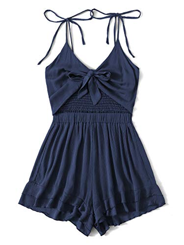 MAKEMECHIC Women's Sleeveless Solid Color Twist Knot Front High Waist Cami Romper Jumpsuit Navy Large