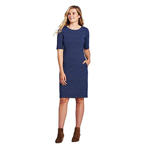 (Lands' End Women's Petite Ponte Knit Sheath Print Dress with Elbow Sleeves, 16, Radiant Navy Geo)