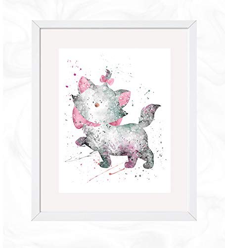 Marie Prints, Marie from The Aristocats Disney Watercolor, Nursery Wall Poster, Holiday Gift, Kids and Children Artworks, Digital Illustration Art