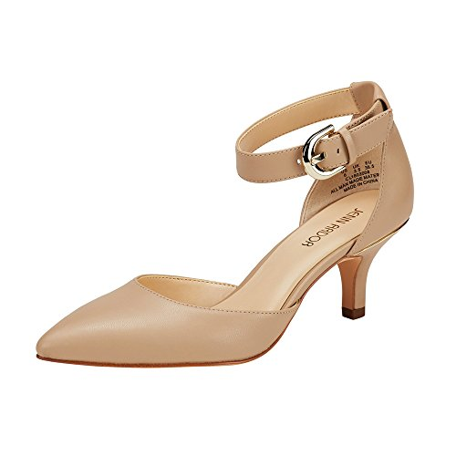 Heel Dorsay Pump - JENN ARDOR Women's Kitten Heel Pumps Ladies Closed Pointed Toe D'Orsay Sandals Ankle Strap Leather Dress Stiletto Natural 9.5 (10.2in)