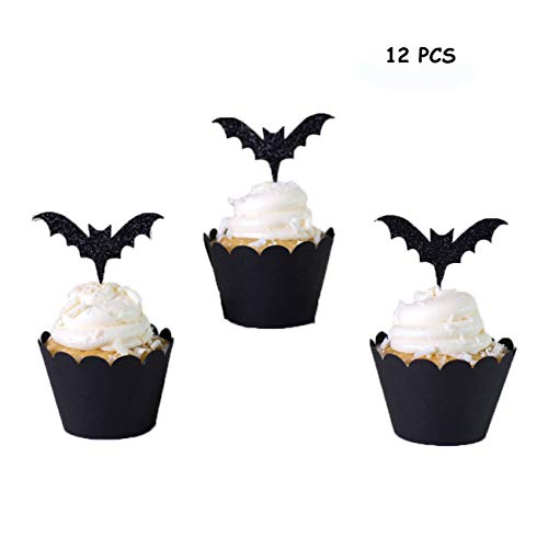 Halloween Cake Decorations, 12Pcs Black Bat Cake Toppers and Cupcake Wrappers, Mini Pumpkin Spider Ghost Hat Bats for Halloween Party Supplies Halloween Party Decorations Halloween Food -