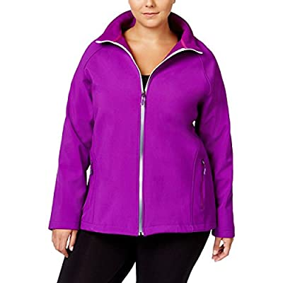 Ideology Womens Plus Water Resistant Mock Neck Soft Shell Jacket
