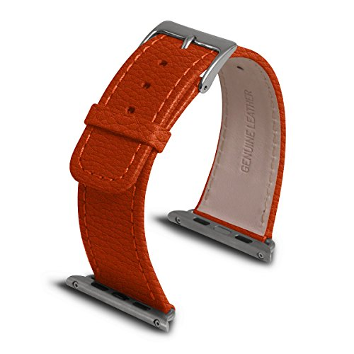 Lucrin - Apple Watch Band 42 mm - Classic - Orange - Granulated Leather by Lucrin