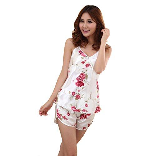 Neevas Women Imitated Silk Braces Shirts Shorts Set Underwear Sleepwear Pajamas (White)