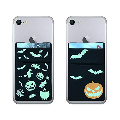 [2pc]RFID Blocking Phone Card Wallet - Halloween Party Glow in The Dark Supplies Double Secure Pocket Ultra-slim Self Adhesive Credit Card Holder Card Sleeves Phone wallet Sticker For All Smartphones