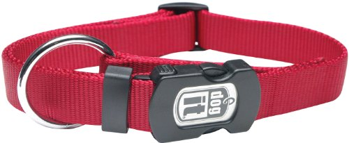 (Dogit Nylon Adjustable Single Ply Dog Collar with Plastic Snap, Large, 3/4-Inch, Red)