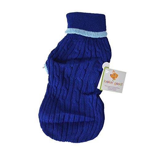Fashion Pet Cable Knit Dog Sweater - Blue (32 Pack)