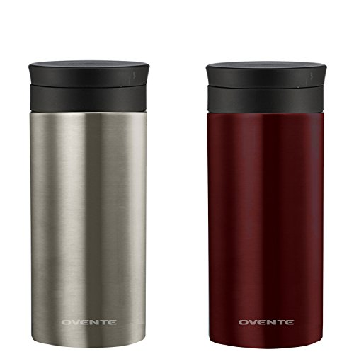 Ovente Travel Mug with Flavor Infuser, Hot/Cool Thermos, Vacuum Insulated, Stainless Steel, Nickel Brushed, 12 oz, Nickel Brushed and Wine Red (2-pack)